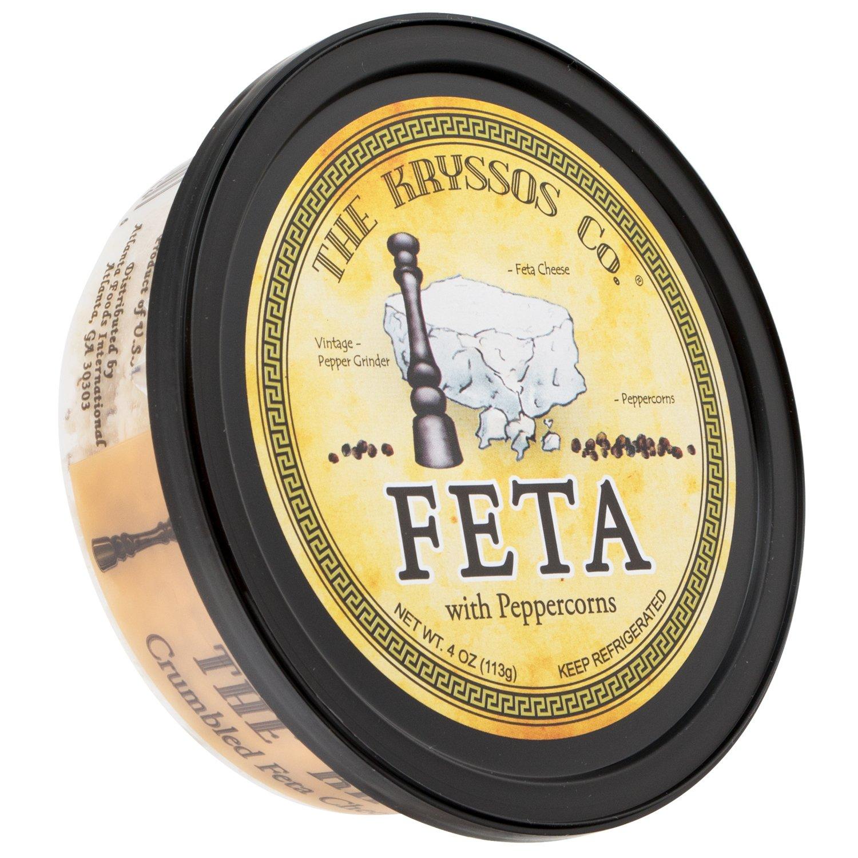 Kryssos Crumbled Feta Cheese with Peppercorns, 4 oz