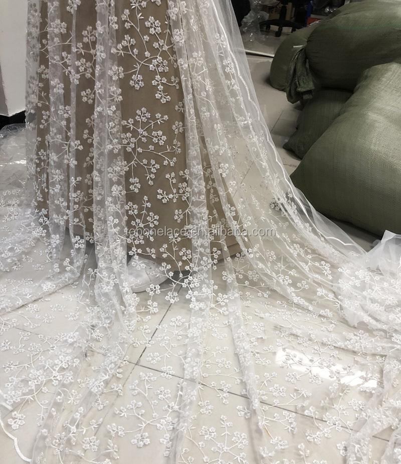 Beaded Wedding Dress Fabric White Ivory Off White Lace For Bridal