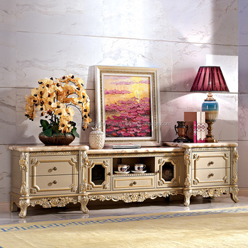 European Tv Cabinet Solid Carved Marble