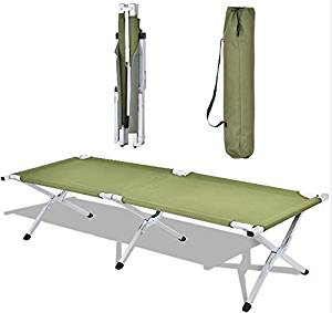 K&A Company Travel Portable Foldable Camping Bed Military Hiking Cot W Bag Sleeping Carrying Outdoor Green