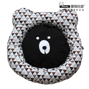 Ambaby Fashion Pet Bed with Cushion Round Donut Cuddler Bed With Cute Bear Face Plaid Fabric For Small Medium Dogs Cats