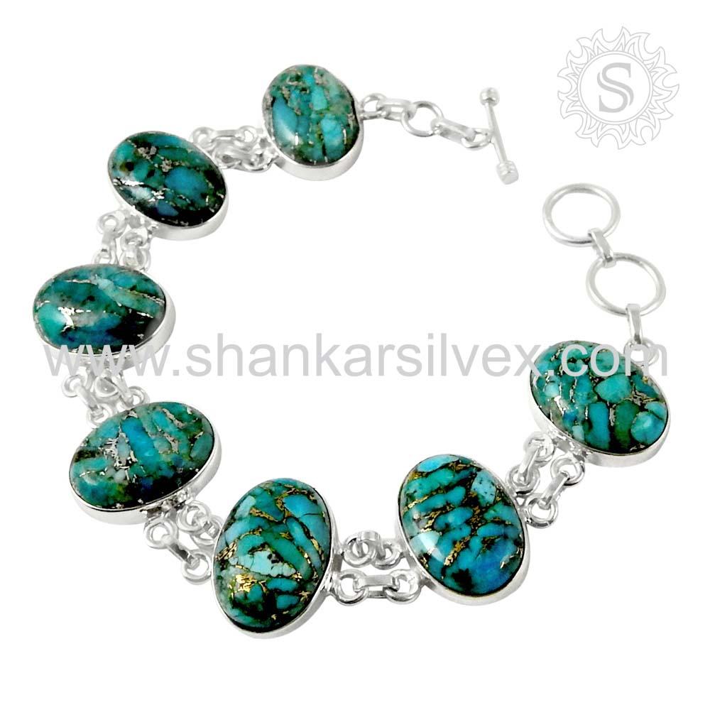 Resplendent copper turquoise gemstone bracelet 925 sterling silver bracelet indian silver jewelry
