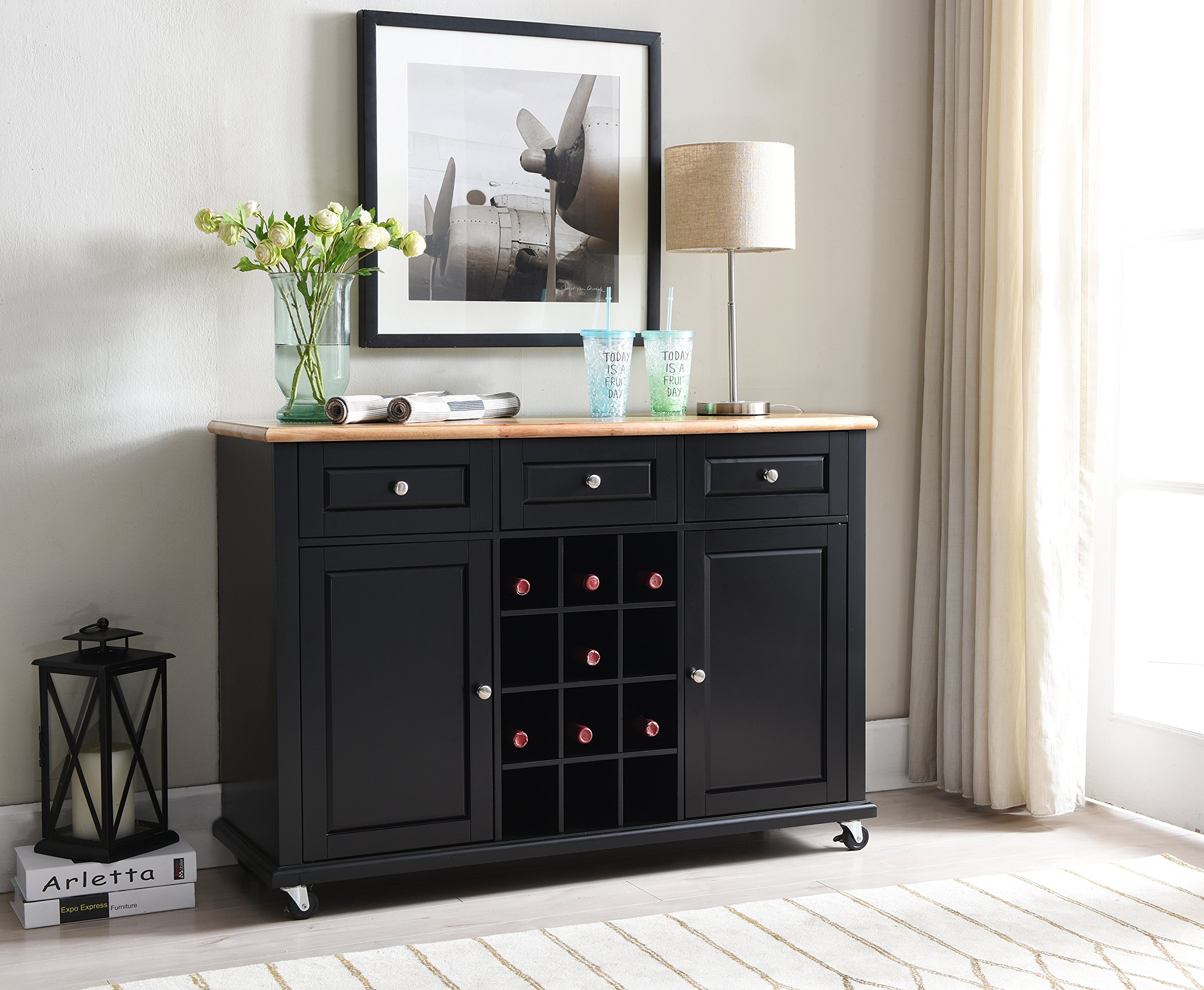 Get Quotations · Kings Brand Furniture Wine Rack Sideboard Buffet Server  Console Table With Storage, Black