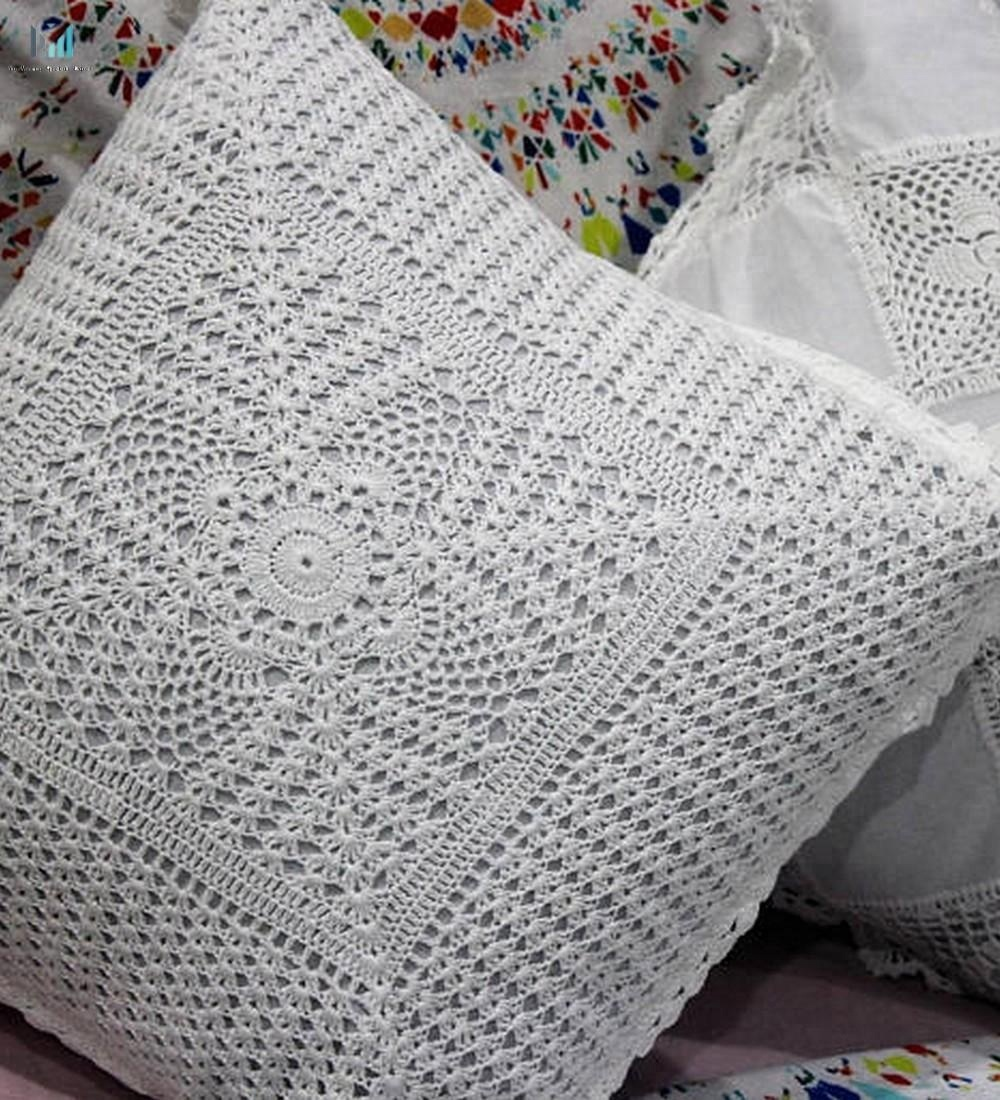 Custom Handmade Crochet Cushion Cover 40x40cm Corner To Corner