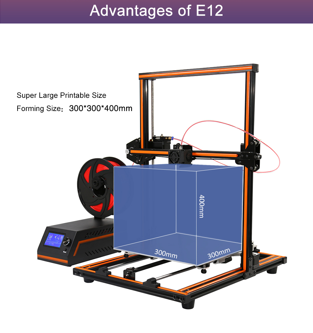 Anet 3d printer E12 easily assembled big size 300*300*400 free samples 3D metal machine