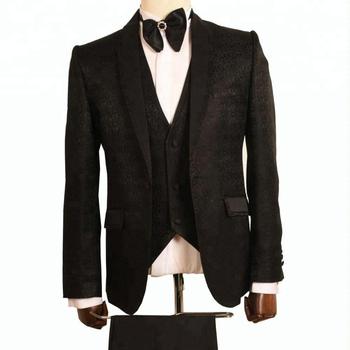 2018 Mens 3 Piece Black Embroidery Wedding Suit Buy Pant Coat