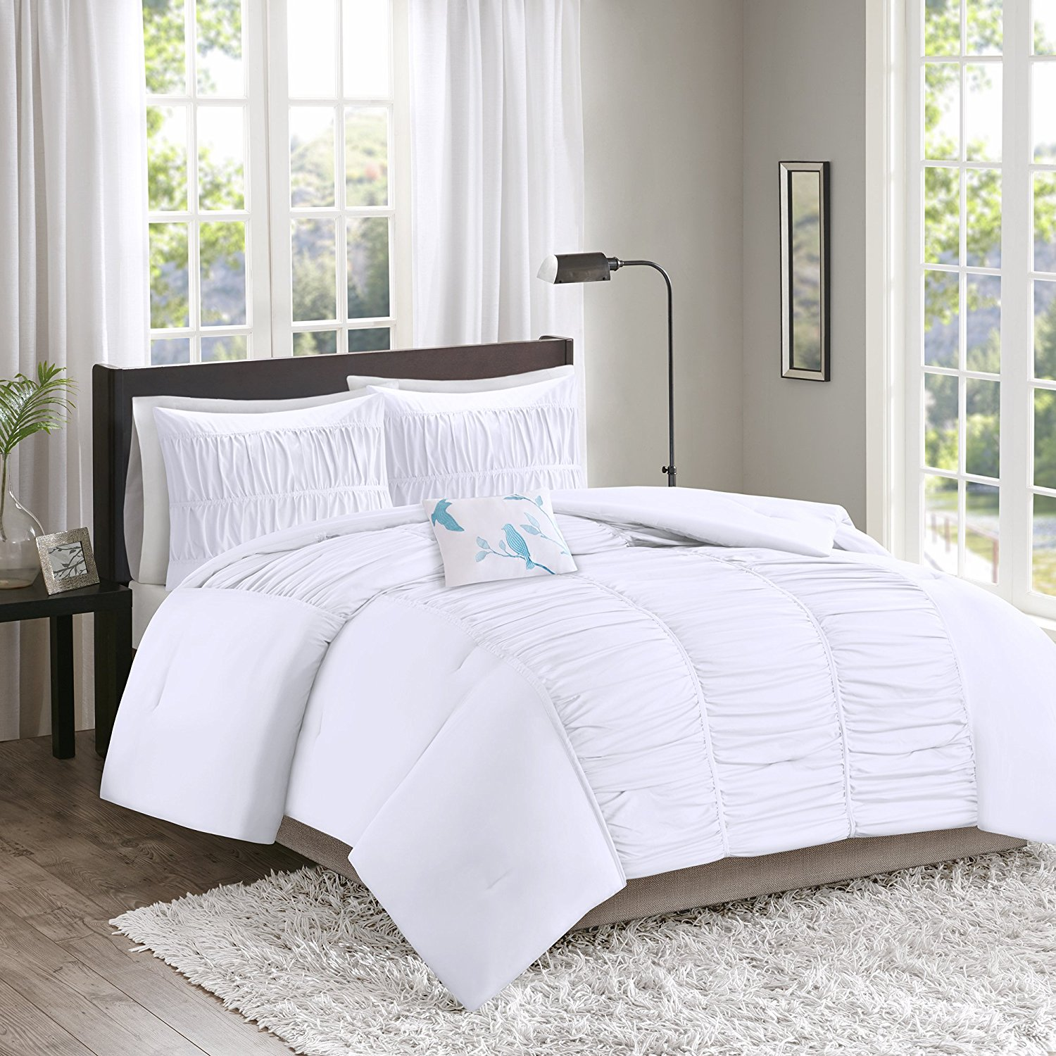 Get Quotations · Comfort Spaces – Montana Comforter Set - 3 Piece – White –  Ruched Pattern – Twin