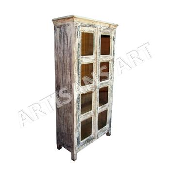Whitewashed Reclaimed 2 Door Glass Cabinethand Finished Antique