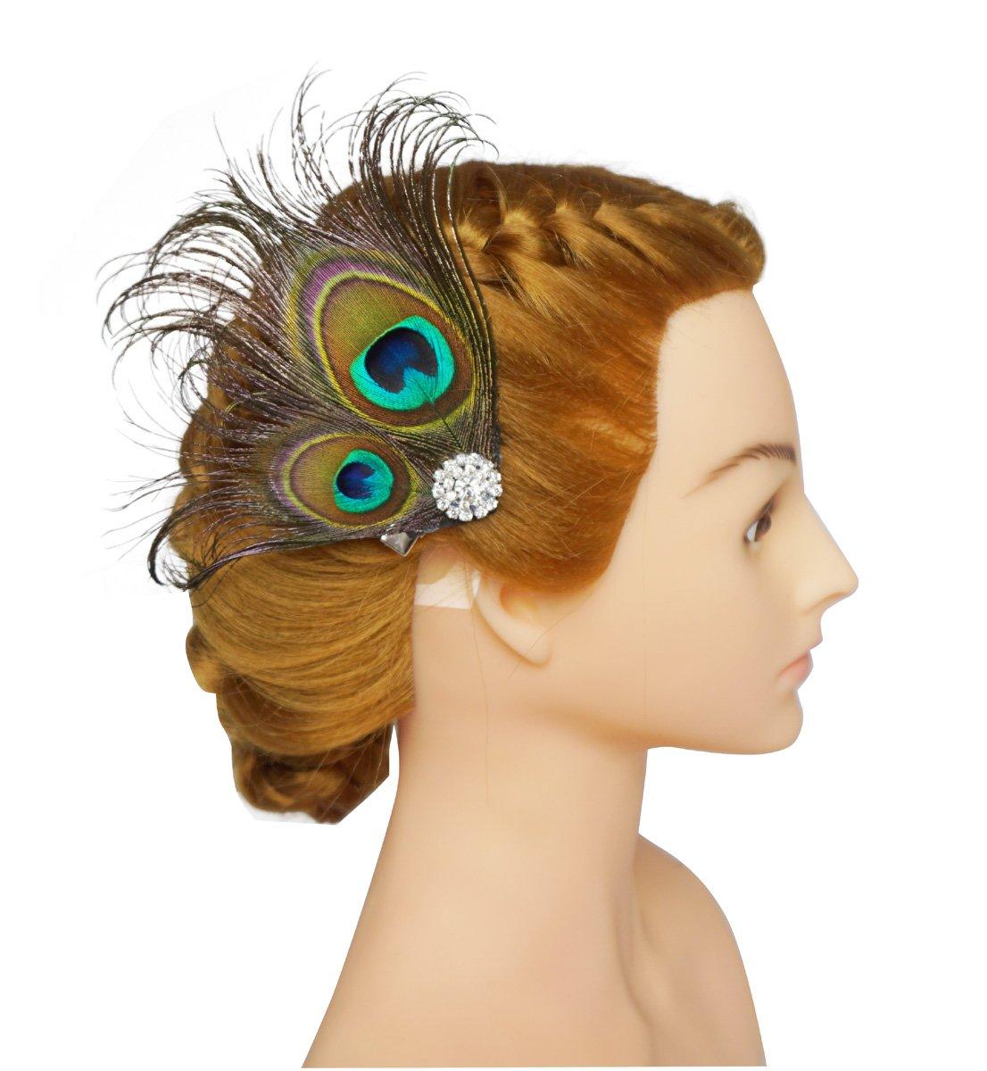 BAOBAO Women Bridal Wedding Party Peacock Feather Fascinator Hair Clip Headwear
