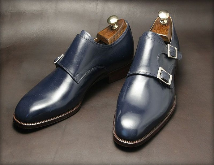 Leather Navy Genuine Single Monk Shoes Blue Men B0zwRB