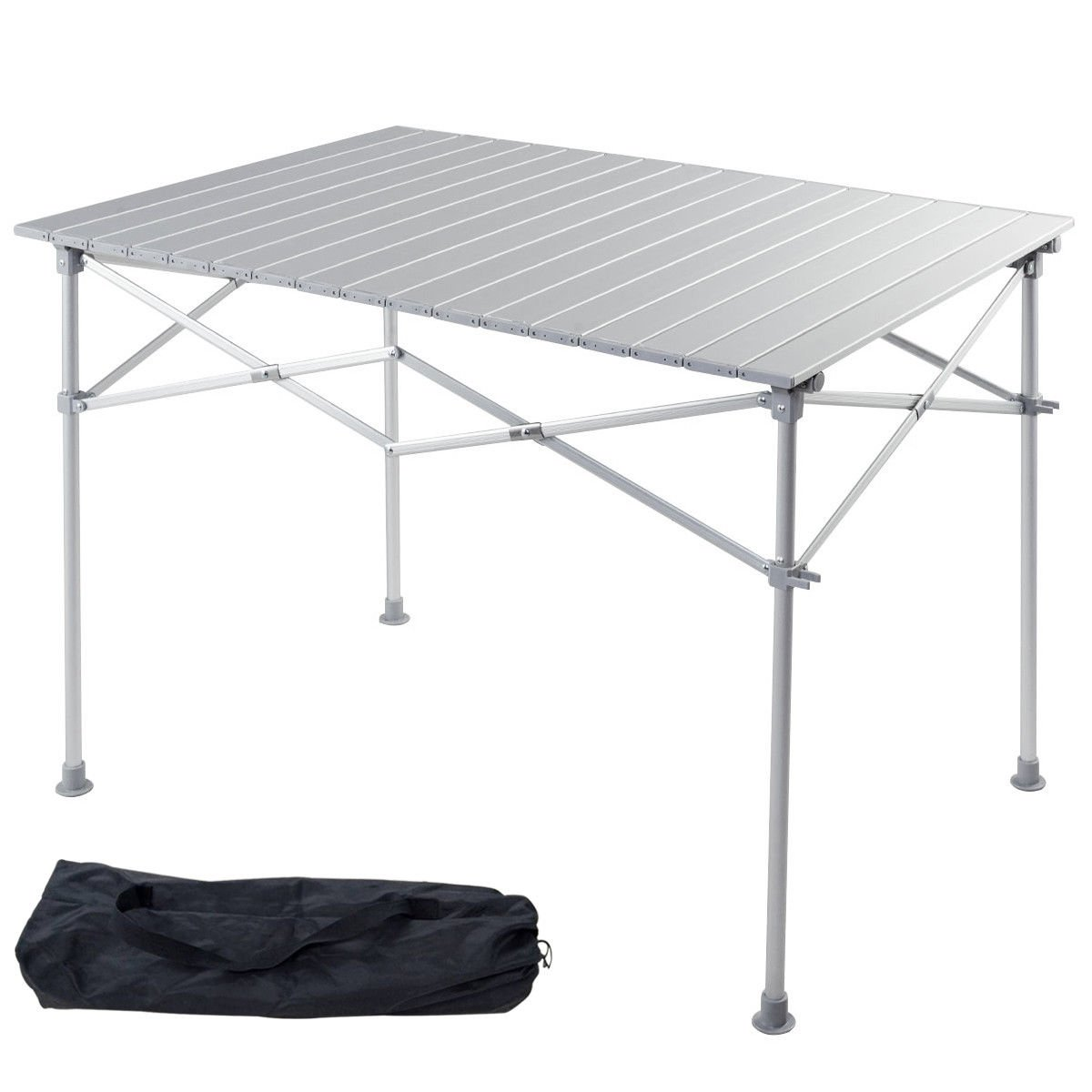 """Giantex Portable Aluminum Folding Table Lightweight Outdoor Roll up Camping Picnic Table Storage Bag (40"""" L x 28"""" W)"""