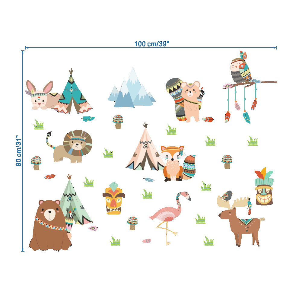 cartoon animal decoration wall stickers School kindergarten classroom layout glass wall decals children's room baby bedroom