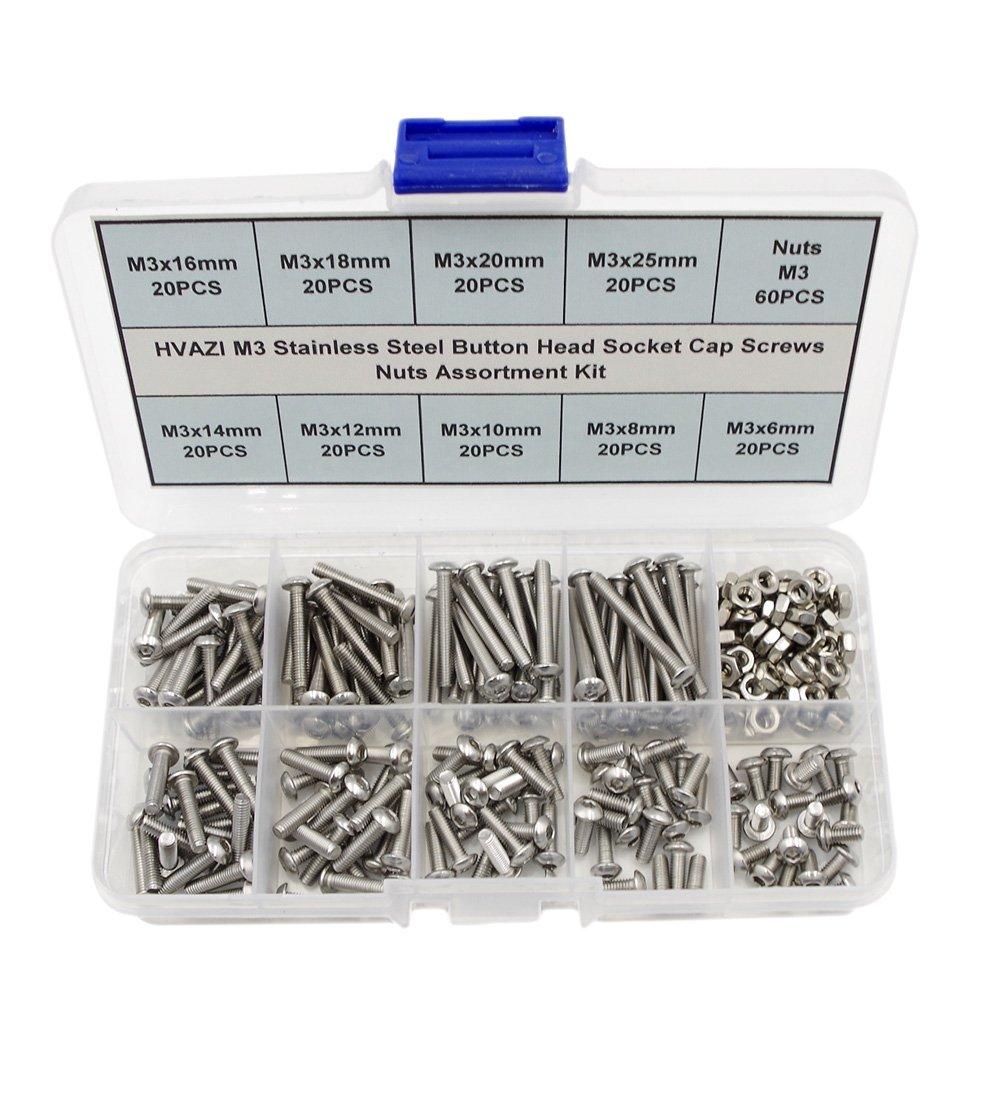 HVAZI Metric M3 304 Stainless Steel Button Head Socket Cap Screws Nuts Assortment Kit