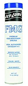 Jet-Lube 30150 FMG Food Machinery Grease, 0 to 400 degrees F, 2 NLGI Number, 14 oz Cartridge, White by Jet-Lube