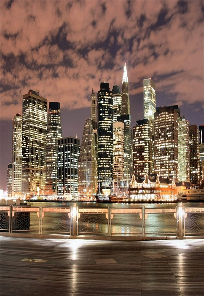 Laeacco Aerial View City Landscape 7x5ft New York City Night View Backdrop Skyscraper Shining Lights French Window Romantic Balcony Photography Background Girls Adults Photo Studio Props
