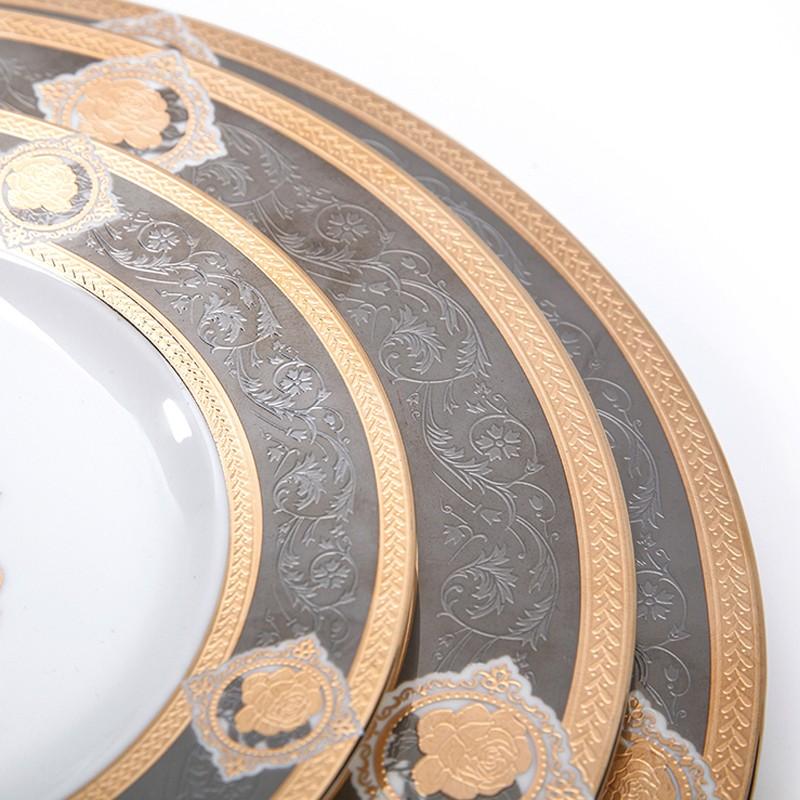product-Two Eight-Elegance Embossed Plate Hotel Restaurant Crockery Tableware Dinner Plate, Bone Chi