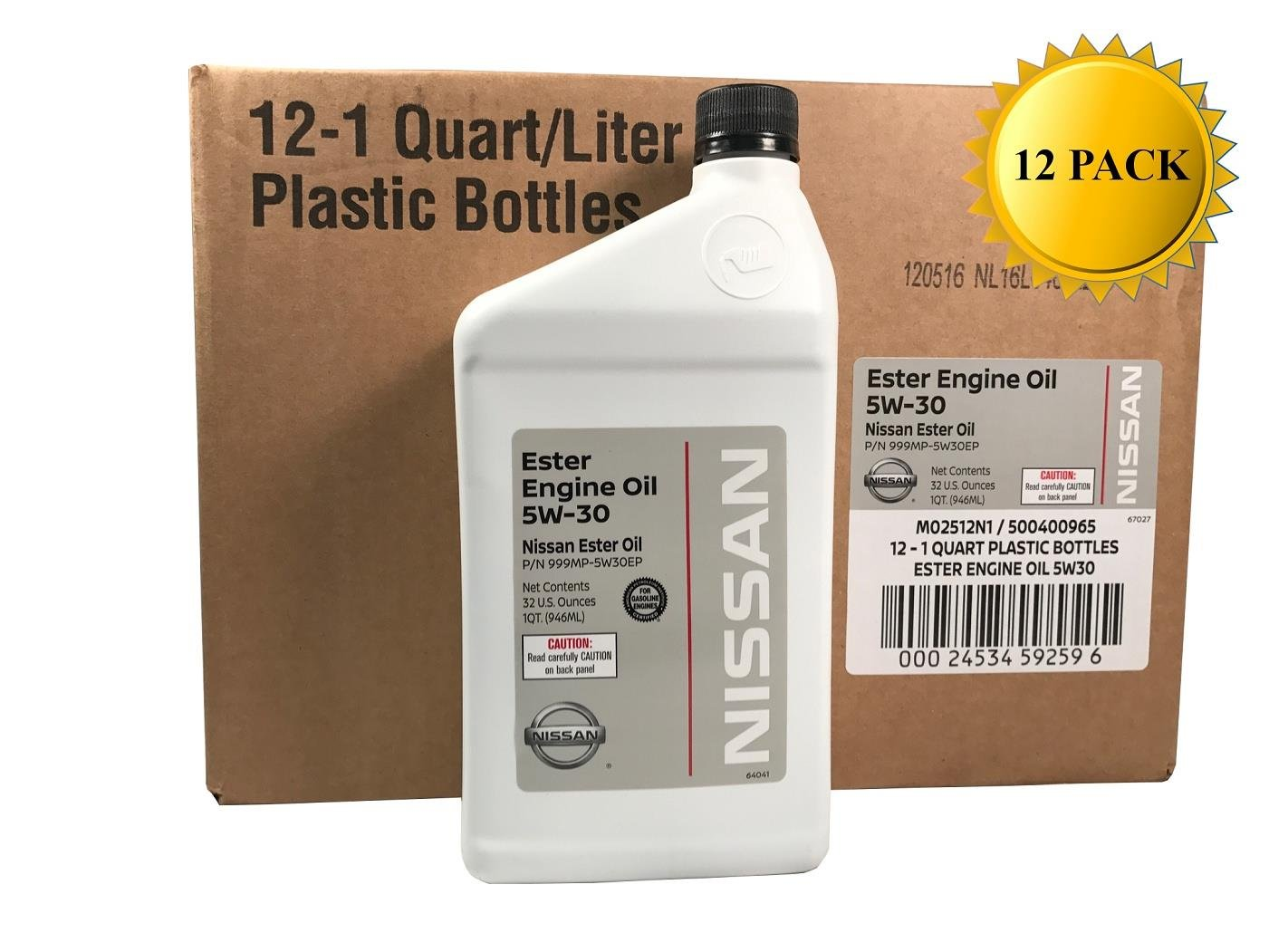 Genuine Nissan OEM 5W-30 Ester Engine Oil GL-4 999MP-5W30EP (Case of 12)