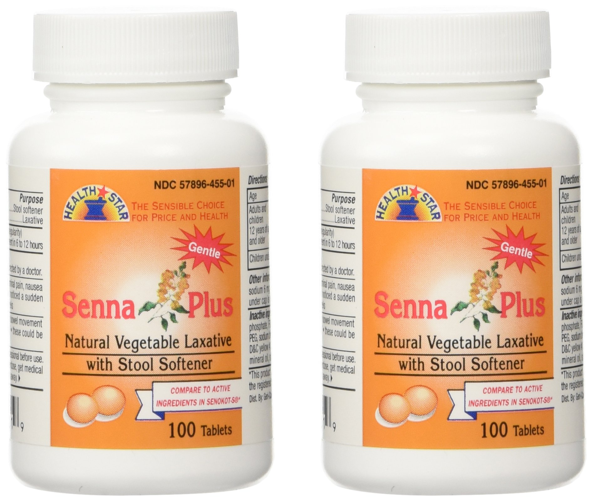 Senna Plus Natural Vegetable Laxative with Stool Softener, 100 tablets (Pack of 2)