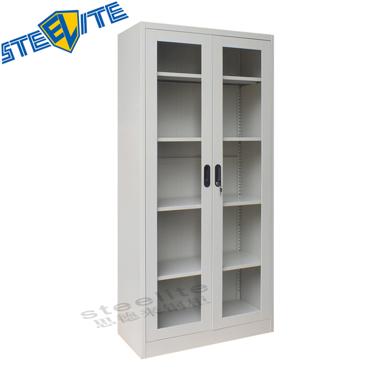 Knock Down Open Bookcase White Gloss With Sliding Gl Doors