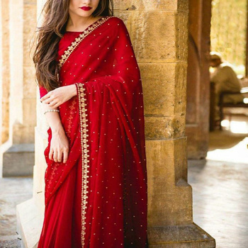 Women Colorful Indian designer Georgette Silk & Embroidered diamond lace Sarees With Unstitched blouse piece
