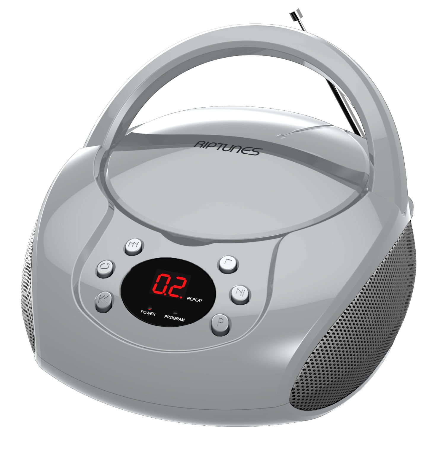 RipTunes CD player Boombox- Portable silver Aux-In CD Boombox, AM/FM Radio For Assured Amusement