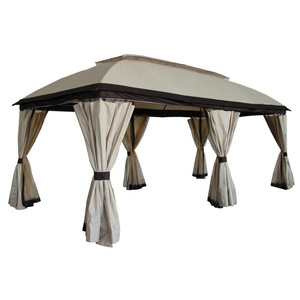 Rome post gazebo with mesh and curtain steel tube garden tent outdoor big size pavilion