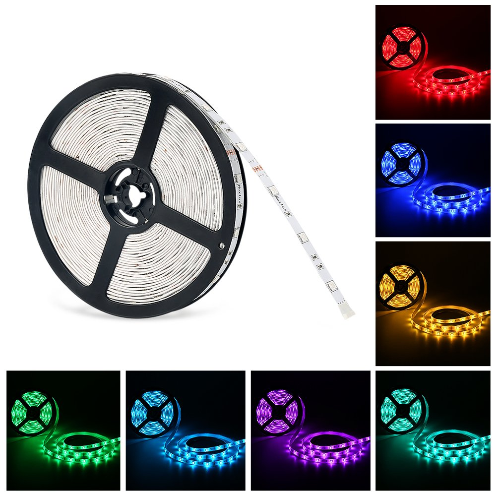 LED light Strip, Nexlux 32.8ft Non-Waterproof White PCB Single Light Strip 5050 SMD RGB LED Flexible Strip Light White PCB Board Color Changing Decoration Lighting No power adapter and remote