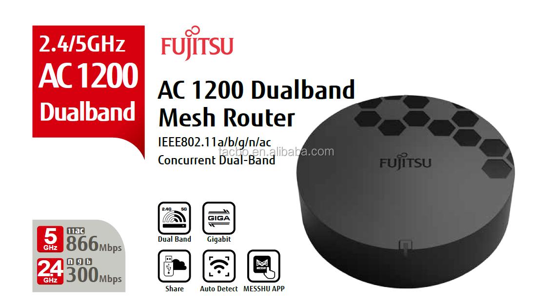 Enrutador de malla RT500 Fujitsu, Top 1 marca japonesa, Wi-Fi para todo el hogar, Gigabit AC1200 de doble banda, puerto USB, Control de App