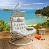 Leisure patio wicker outdoor rattan double swing hanging chair/ garden hanging double egg shaped chair