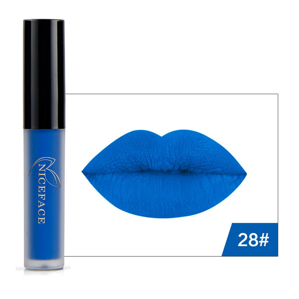 Matte Lipstick Doinshop 9 Colors Halloween Style Waterproof Lip Gloss (Blue 28#)