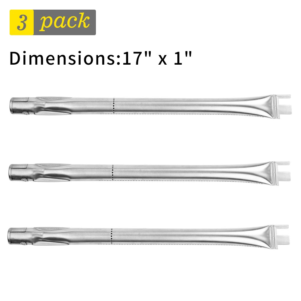SHINESTAR BBQ Grill Burner Tube 17 inch Replacement for Ducane 3200, 30400042, BBQ Grillware, Home Depot, 3-Pack Universal Stainless Steel Barbeque Tube Burner Pipe, Replacement Grill Burner(SS-GB105)