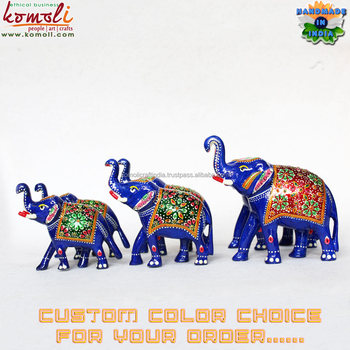 Handmade Indian Handicrafts Wholesale Enamel Work Elephant Statues