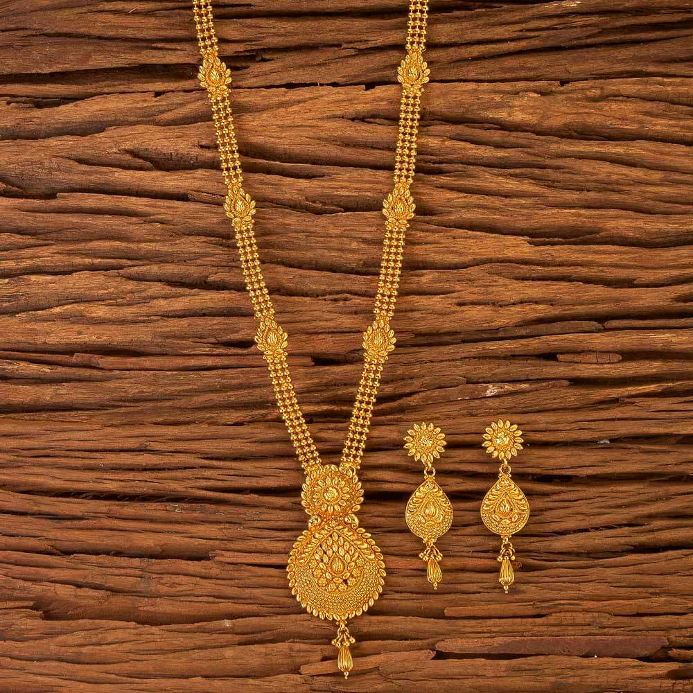 Antique Long Necklace Set With Gold Plated In Wholesale 17605 Gold