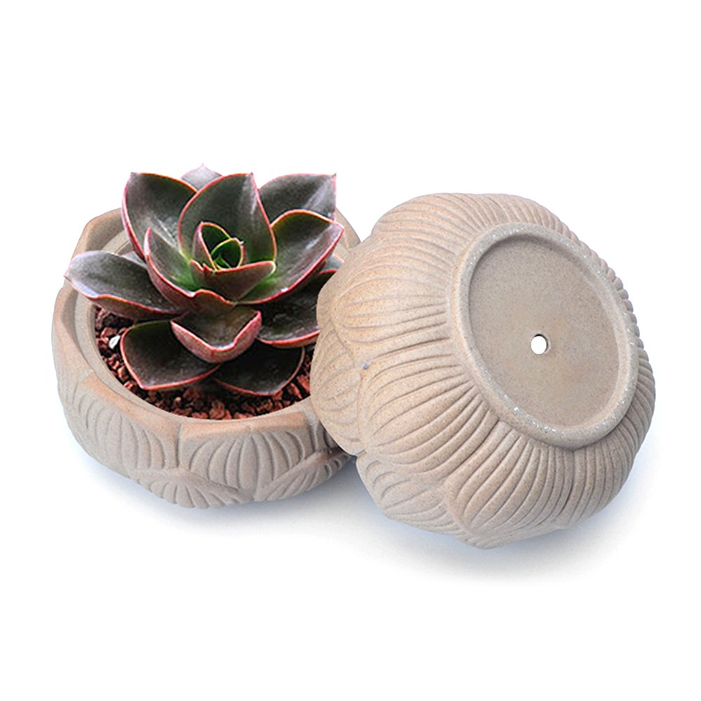 4-Inch Handmade Clay Lotus Succulent Plant Pots, Unglazed Earthenware Planters, Pack of 2