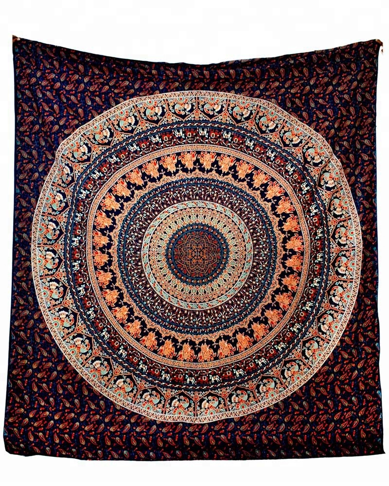Elephant Mandala Wall Hanging Cotton Bedspread Beach Coverlet Art Queen Tapestry