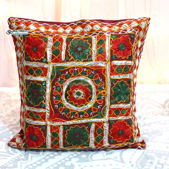 Hand Embroidery Designs Embroidered And Mirror Work Cotton Stunning Pillow Cover Hand Embroidery Designs
