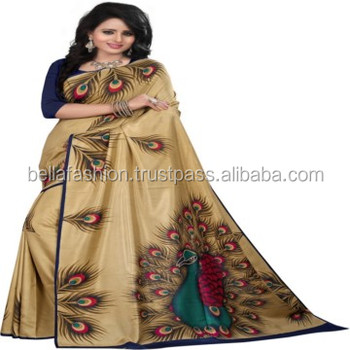 095a3b8926 Latest Beautiful Color Fancy Looking Fashionable Unique Printed Designer  Worked Bhagalpuri Sarees Wholesale In Surat