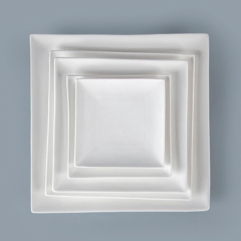 product-Two Eight-2018 New Porcelain White Banquet RestaurantSquare Dinner Plates, Ceramic Square Pl-1