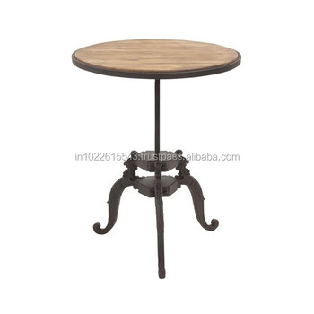 Industrial Cast Iron Base Mango Wood Top Cafe Table / Cast Iron U0026 Wood  Restaurant Table