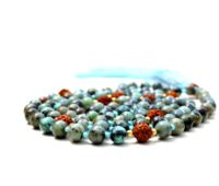 African Turquoise Knotted 108 Spiritual Yoga Mala Beads Necklace