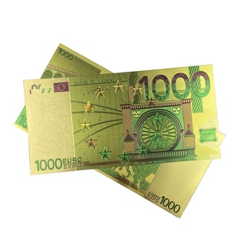 Colored Euro Banknotes 1000 EUR Gold Banknotes in 24K Gold Plated Fake Paper Money for Collection