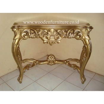 Golden Console Table Antique Reproduction Wooden Hall Way Table Mahogany  Painted Home Furniture French Style Living