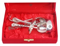 IndianArtVilla Silver Plated Cutlery Set with Stand Duck Desig Tableware Gift Item Home Decor
