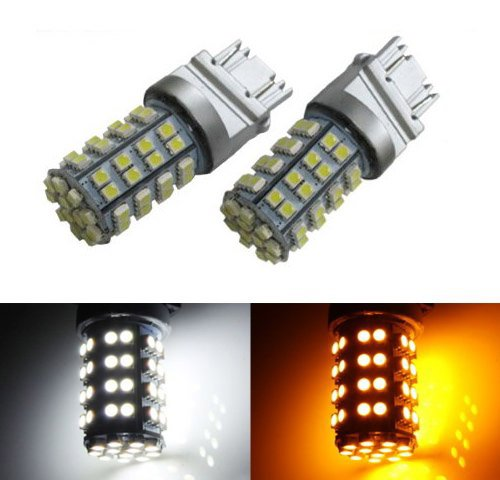 iJDMTOY 60-SMD-3528 White/Amber 3157 3155 3457 4157 Switchback LED Bulbs For Turn Signal Lights