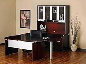 "Mayline U Shaped Desk W/Hutch 96""W X 108""D X 80""H Desk: 72""W X 36""D X 29.5""H Credenza: 72""W X 24""D X 29.5""H Desk Extention: 47""W X 28""D X 29.5""H Hutch: 72""W X 15""D X 50.5""H - Mahogany"