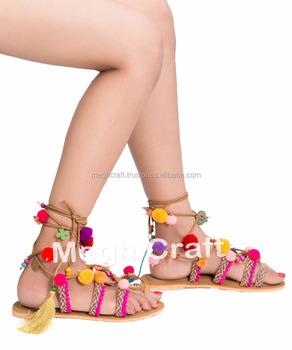 8c0d3f4861320 Tie Up Gladiator Sandals- Pom Pom Sandals- Bohemian Handmade Leather  Sandals -greek Leather Sandals -ladies Pom Pom Boho Sandals - Buy Ladies  Leather ...