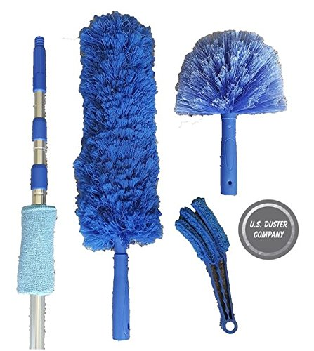 Extension Rod & Blue Extension Duster, Ultimate Duster Kit, Clean High Cathedral Ceilings, Fans, Blinds, Cobwebs, Extends 18 to 20 Feet U.S. Duster Co.