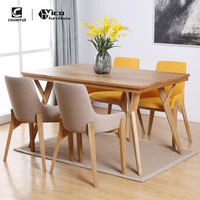 classic designs fabric solid wood dining furniture set restaurant table and chairs