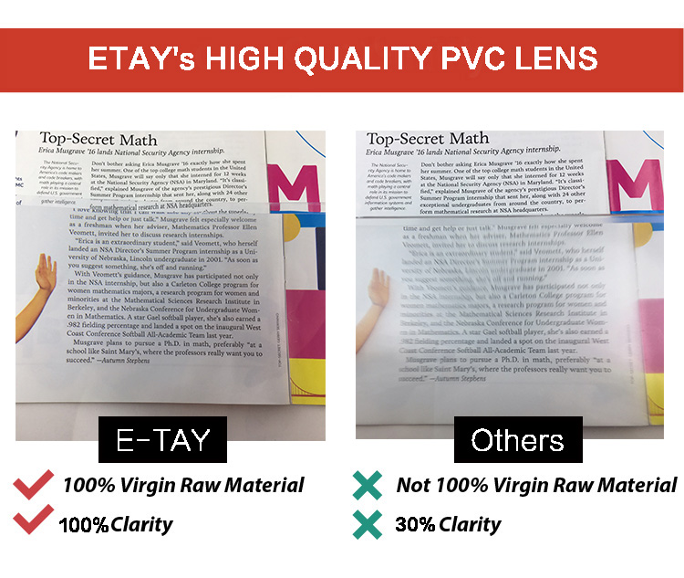 Pvc large magnifying glass sheet with led light
