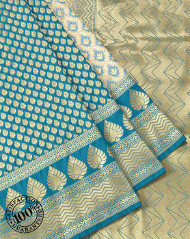 Saree Banarasi Traditional Saree Teal Green and Cream Katan Silk Half and Half Resham and Zari Woven Banarasi Saree